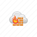 cloud, cloud computing, computing, data, firewall, security icon