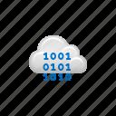 binary code, cloud, cloud computing, coding, computing, data, programming icon