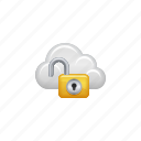 cloud, cloud computing, computing, lock, password, security, unlocked icon