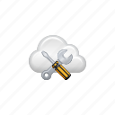 cloud, cloud computing, computing, screwdriver, settings, tools, wrench icon