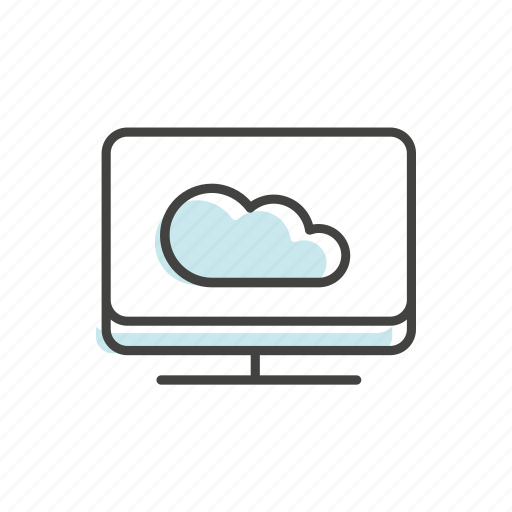 cloud, computer, line, technology, thin icon