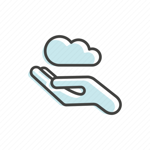 cloud, easy, hand, line, technology, thin icon