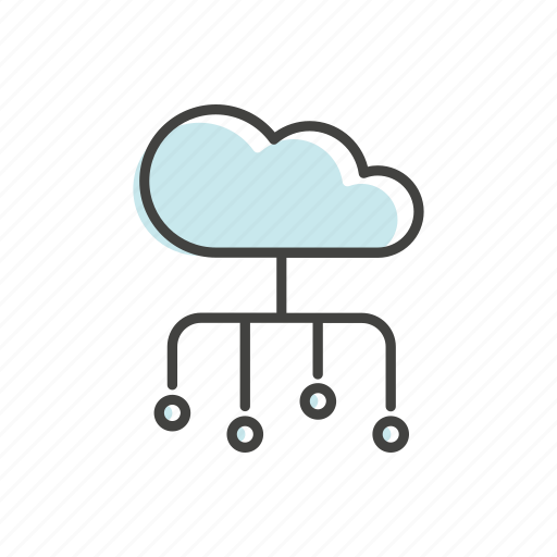 cloud, connection, device, line, server, technology, thin icon