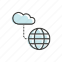 cloud, globe, line, technology, thin icon