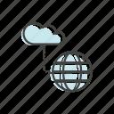 cloud, globe, line, technology, thin icon