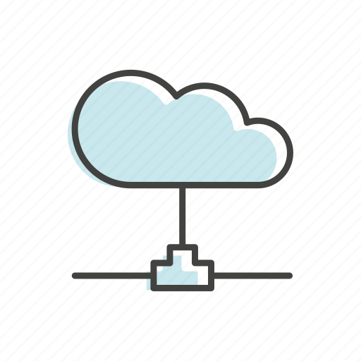 cloud, connection, line, net, network, technology, thin icon