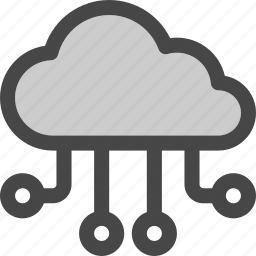 cloud, computing, connections, flow, internet, storage icon