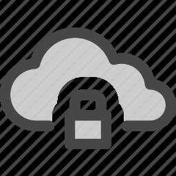 cloud, computing, data, internet, locked, secured, storage icon