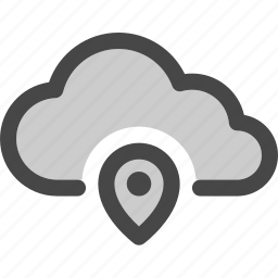 cloud, computing, data, location, map, pin, storage icon