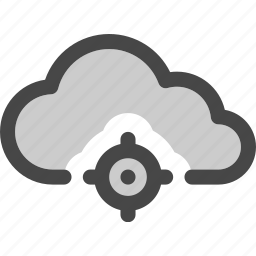 cloud, computing, data, located, map, position, storage icon