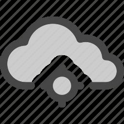cloud, computing, data, locating, map, position, storage icon
