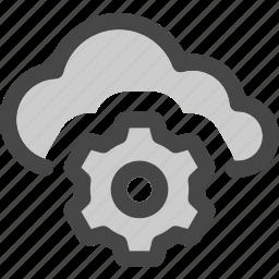adjustments, cloud, computing, gear, settings, storage icon