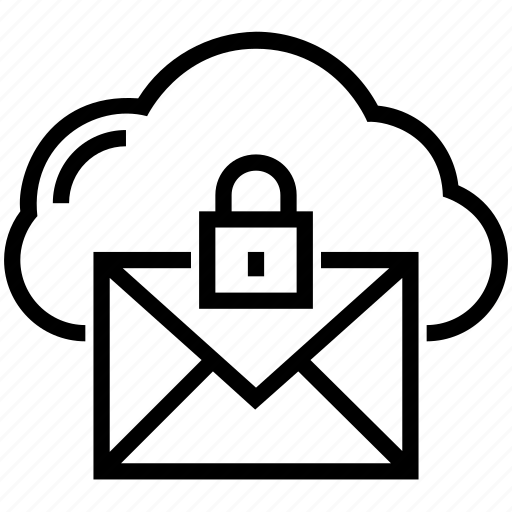 cloud computing, cloud email, cloud security, email security, network security icon