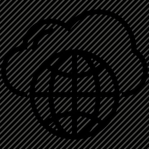 cloud computing, globe, internet, network, wireframe globe icon