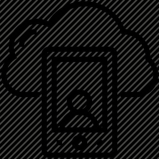 cloud computing, live call, mobile, mobile account, video call icon