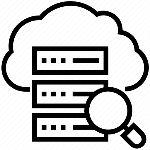 cloud computing, icloud, magnifying, network server, server search icon