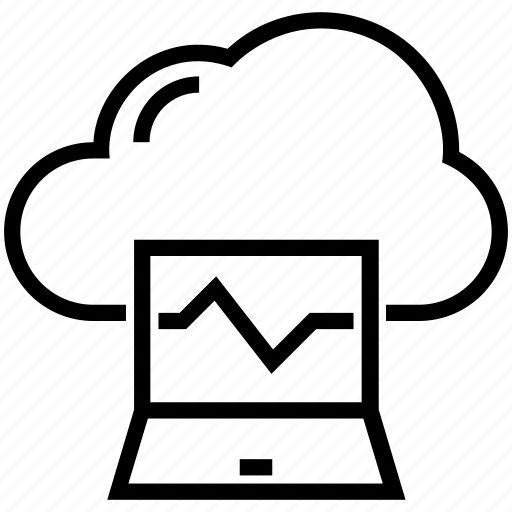 analytics, cloud computing, cloud graph, line chart, online graph icon