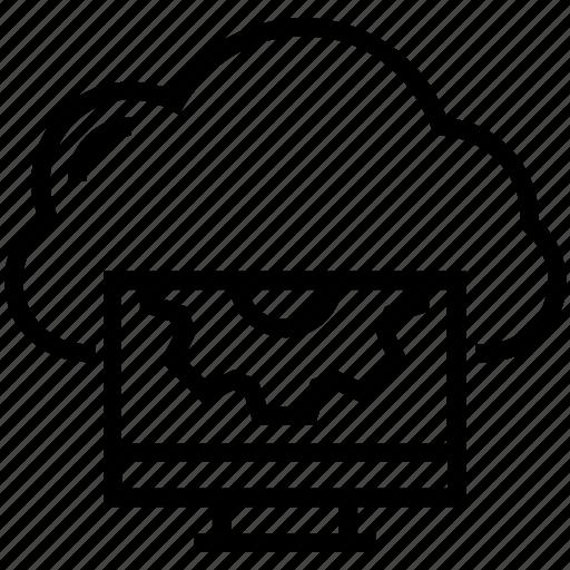 cloud screen, gear, globe gear, icloud, screen settings icon