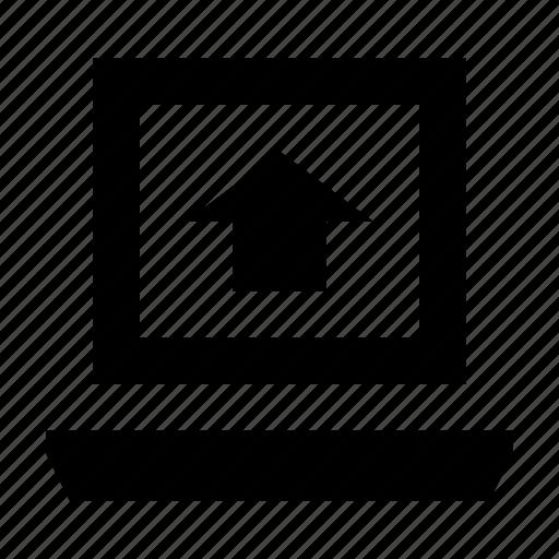 data transfer, file upload, laptop, up arrow, uploading icon