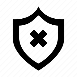 cross, defense, disabled connection, internet disconnected, shield icon