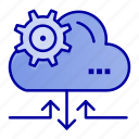arrow, cloud, gear, setting icon