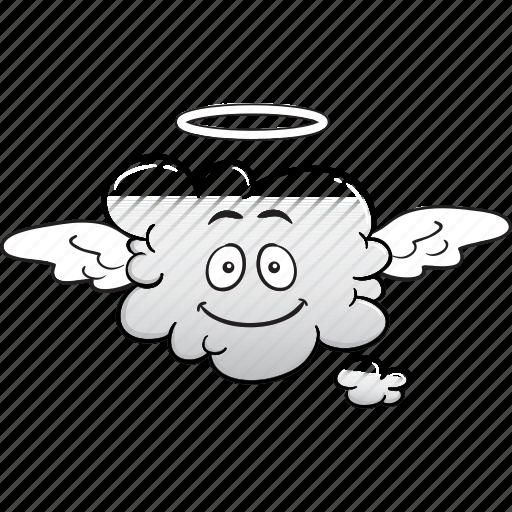 cloud, emoji, face, hosting, saas, smiley icon