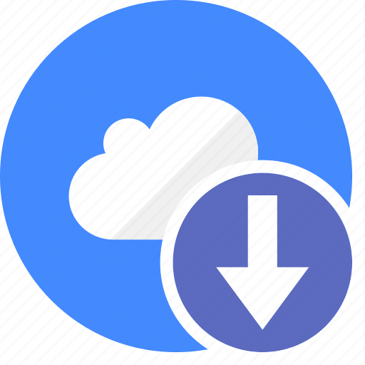 arrow, cloud, cluouding, direction, down, download icon