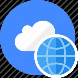 cloud, cluouding, globe, seo, web icon