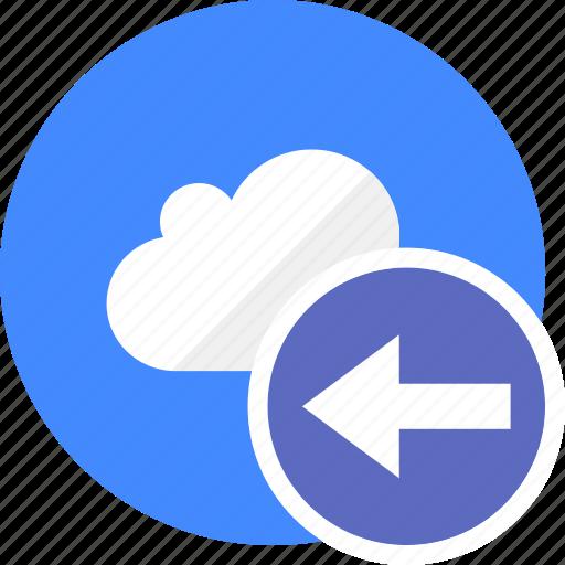 arrow, arrows, back, cloud, cluouding, direction, left icon