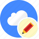 cloud, cluouding, edit, pen, write icon