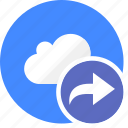 arrow, cloud, cluouding, direction, redo icon