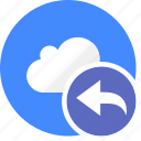 arrow, back, cloud, cluouding, direction, left, undo icon