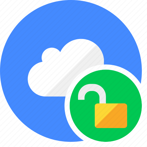 cloud, cluouding, safe, secure, unlock icon