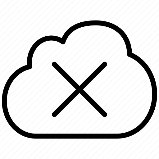 close, cloud, cross, delete, erase, minus, plaster, remove, trash, x icon