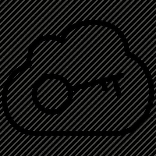 cloud, key, lock, locked, password, secure, storage icon