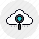 cloud, data, information, magnifier, network, search icon