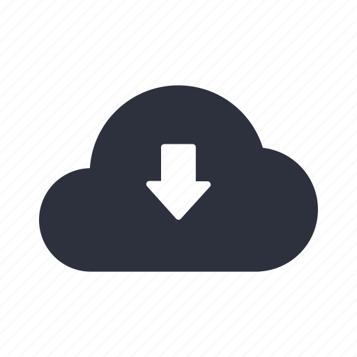arrow, cloud, computing, down, download, network, storage icon