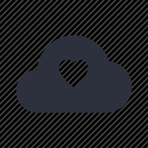 cloud, communication, computing, data, hearth, love, network icon