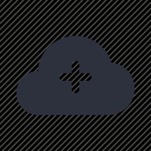 add, cloud, communication, computing, network, plus, server icon