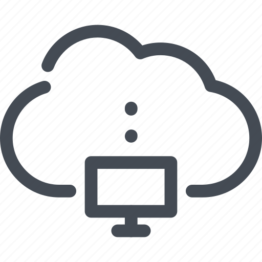cloud, computer, connect, connection, monitor, service icon