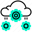 cloud, data, gear, process, setup, technology icon