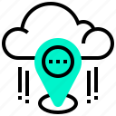 cloud, data, gps, location, technology icon