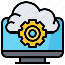 cloud, computer, data, gear, service, technology icon