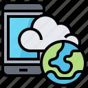 cloud, data, golbal, smartphone, technology icon