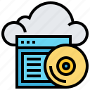 backup, cloud, data, disc, technology, website icon