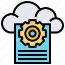 cloud, data, document, file, gear, technology icon