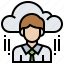 businessman, cloud, data, file, personal, technology icon