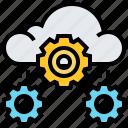 cloud, data, gear, process, setup, technology icon