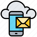 cloud, data, letter, mail, smartphone, technology