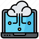 cloud, computer, data, laptop, notebook, technology icon